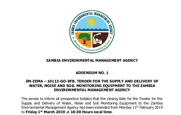 Tender for the Supply and Delivery of Water, Noise and Soil Monitoring Equipment to the Zambia Environmental Management Agency