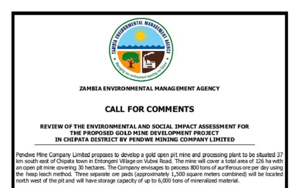 CALL FOR COMMENTS: ESIA Review for the Proposed Gold Mine Development Project in Chipata District by Pendwe Mining Company Limited