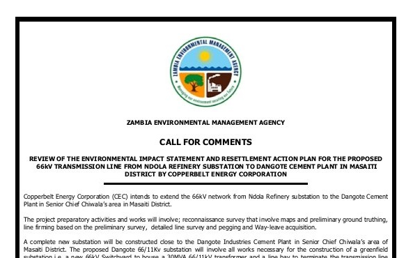 CALL FOR COMMENTS: EIA & RAP Review for the Proposed 66kv Transmission Line from Ndola Refinery Substation to Dangote Cement Plant in Masaiti District by Copperbelt Energy Corporation