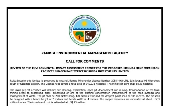 CALL FOR COMMENTS: EIA Review for the Proposed Jifumpa Mine Expansion Project in Kasempa District by Ruida Investments Limited